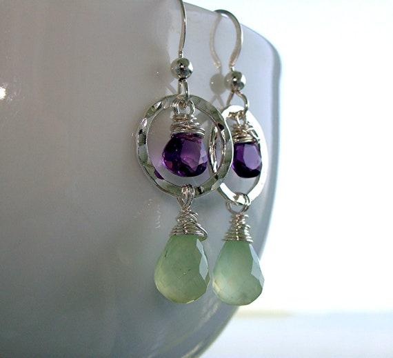 Glowing Prehnite Amethyst Gemstone Teardrop Earrings - Argentium Sterling Silver