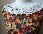 Lovely Rustic Autumnul Fall Leaves Lace Collar Dress in Mustards Browns and Deep Red S M