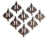 6 Gunmetal Black Links, Finding Supply, 6 Filigree Diamond Shape Chandelier Components, gunmetal Colored, 32mm X23mmX3mm