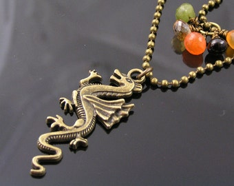 Dragon Necklace with Gemstone Pendant, Carnelian, Citrine, Garnet and Vesuvianite, Beaded Necklace, Beaded Jewelry, Two Strand Necklace,N876