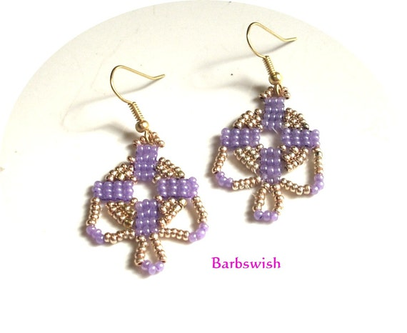 Native American Style Handwoven Seed Bead Earrings  Lovely Lilac