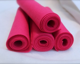 Mini Roll of Fuchsia Wool Blend Felt
