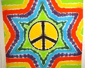 Rainbow Peace Sign Tie Dye Tapestry - Tie Dye Scarf