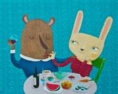 Romantic dinner card, bear and rabbit love card, blank