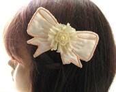 """Bow Hair Comb, Wedding Head Piece """" AUSTEN """"  Hair Bow, Bridal Hair, Hair Accessorie, Peach , Ivory"""
