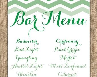 Wedding Menu, Bar Menu, Ombre, Chevron Bar Menu, 11x14 or 8x10,  PRINTABLE