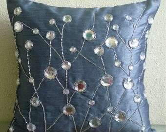 Dew Drop Diamond - Pillow Sham Covers - 24x24 Inches Silk Pillow Sham Cover with Bead and stone Embroidery