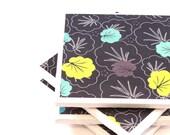 Tile Coasters - Black, Turquoise, and Green Flowers - Set of 4 Ceramic Tile Coasters (LAST SET)