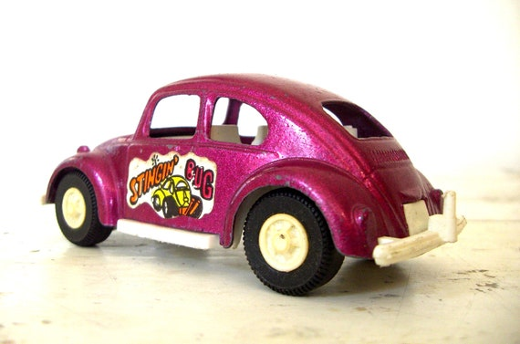 Tootsie Toy Volkswagen, VW Bug, DARK PINK Chippy Paint