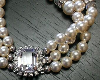 Bridal Bracelet, Swarovski Pearl Bracelet, Wedding Bracelet, Ivory Pearl Bracelet, Wedding Jewelry
