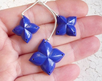 Carved Quatrefoil Lapis Briolette Beads,  Matched Pair Trio , Clover Beads , Double Drilled Beads