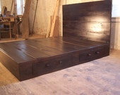 Reclaimed Modern Style Platform Bed with Headboard and 2 Drawers