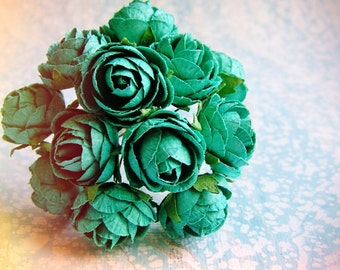 Teal blue green Garden Roses Vintage style Millinery Flower Bouquet - for decorating, gift wrapping, weddings, party supply, holiday