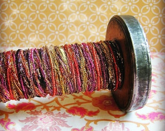 Rose, Gold and Amethyst Fairy Tale Tinsel ribbon trim - glitter sparkle pearl vintage style embellishment wedding craft supply -5 yards