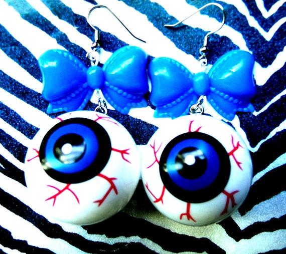 RESERVED Creepy Eyeball Horror Earrings