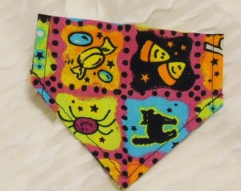 Dog Bandana with Halloween Items Sizes XS to M in Dog Collar Style