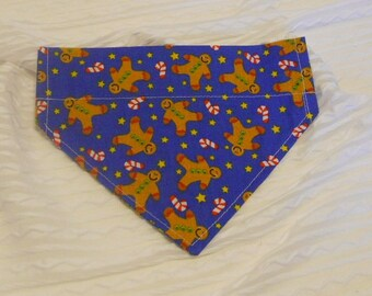 Dog Collar Bandana with Gingerbread Men & Candy Canes in Sizes XS to Large