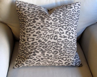 Cheetah in steel gray pillow cover 24x24