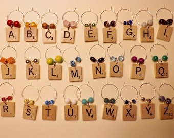Scrabble Wine Glass Charms Markers Tags set of 26 letters A-Z alphabet
