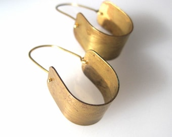 Modern Golden Stirrup Earrings large