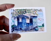 Art Painting 6 Miniature Tropical Shabby Rustic Watercolor Illustrations Pen and Ink  -  Set of 6 Mini Prints