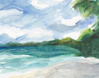 Art Painting WatercolorTropical Beach Caribbean Palm Tree Jamaica PRINT