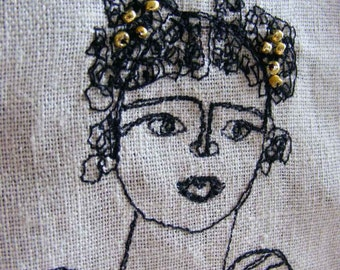 SALE - Flowers in my arms- embroidery artwork freestyle and applique hand stitched portrait