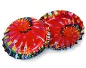 50 Tie Dye Bottle Caps Linerless Vintage Crafts Bottlecaps