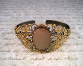 Antique Bronze Brass 18mm x 25mm Setting Filigree Bangle Bracelet(1)-P022