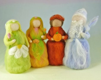 Seasonal Wool Doll Set of 4 Needle Felted Waldorf Style Puppets