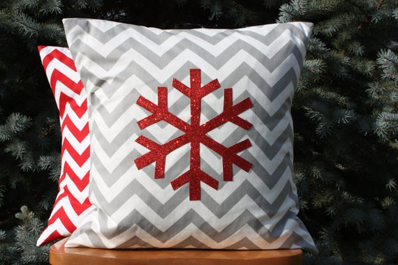 Modern Sparkle Snowflake Pillow Cover Red and Grey
