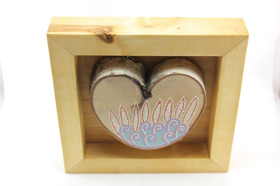 Feathers / Alaska Series / Framed painted birch heart by Amy Komar