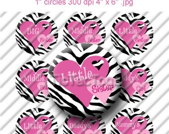 Zebra Heart Big Middle Little Sister Sayings Bottle Cap Images Set 1 Inch Circle 4x6 Digital - Instant Download - BC197