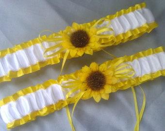 Sunflower Bridal Garter Set Sunshine Yellow White Wedding Garter