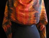Hand Dyed Silk Scarf Shibori - Autumn Night