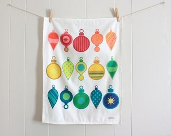 Rainbow Ornaments Holiday Tea Towel made from Linen Cotton blend 18 x 24 inch