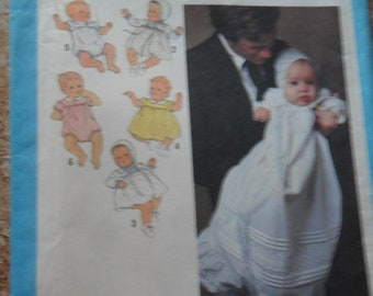 Vintage 1979Simplicity Pattern 8971 for New born Babies Dress and Bonnet