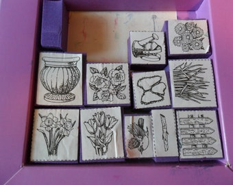 11 Rubber Stamps - assorted floral types