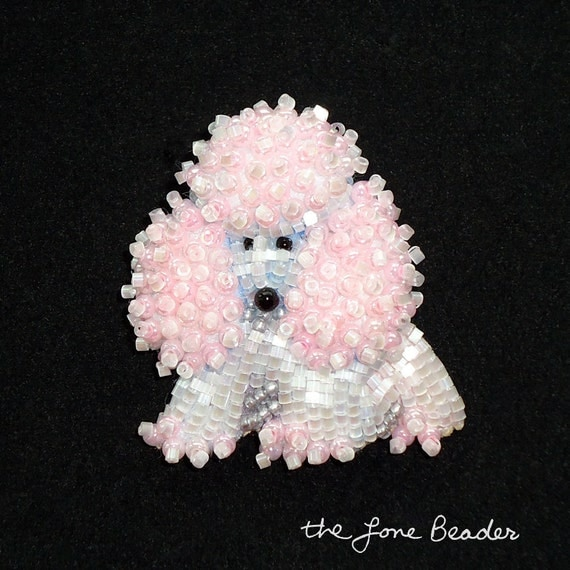 Baby Pink & White Delica Beaded MINIATURE POODLE pin pendant for Valentine's Day (Ready to ship)