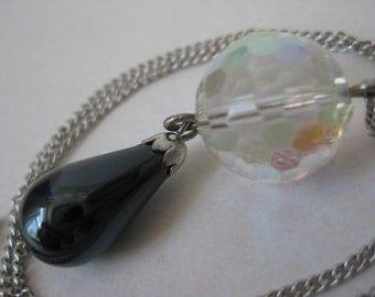 Aurora Crystal Teardrop Necklace Hematite Black Silver Vintage Pendant