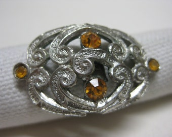Silver Gold Ring Rhinestone Vintage Adjustable Cocktail