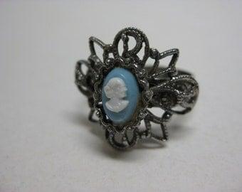 Cameo Blue Ring White Filigree Silver Vintage Adjustable