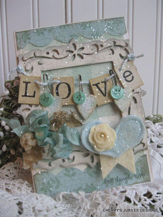 shabby chic distressed wood frame LOVE banner live laugh love glittered stiched handmade card