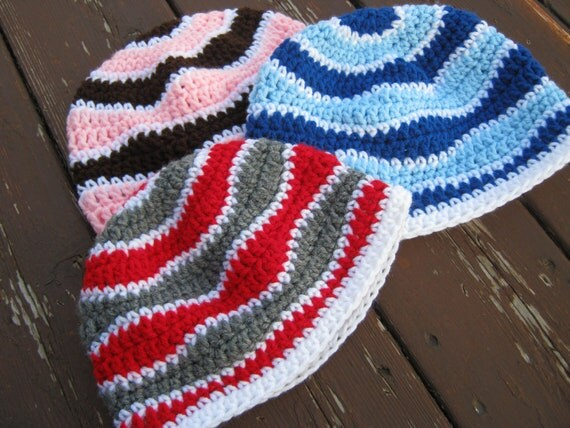 Wave Beanie Hat - You choose colors - Adult size