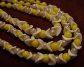 3 Strand Vintage 1930's Lemon Yellow and White Lucite Beaded Necklace JAPAN