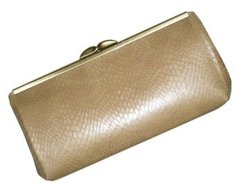 Genuine Leather - Camel Tan Snakeskin Embossed Design - READY TO SHIP