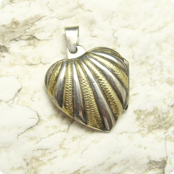 Sterling Heart Locket Shell Design Two Tone C4803