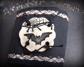 Halloween Clay Spider Web and Bat Cuff Bracelet