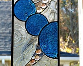 Beautiful Blue Circle Stained Glass Panel