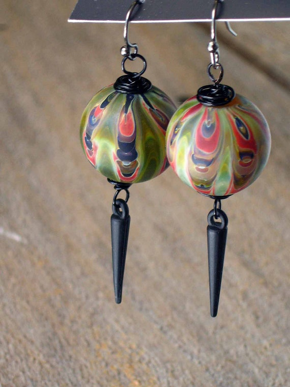 Reserved for  Monica  until 1/31   Olive Green Marble Earrings - Black Spike Dangles